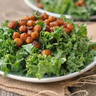 Roasted Chickpea Kale Salad with Tahini Dressing