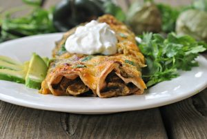 Roasted Chile Verde Chicken Enchiladas