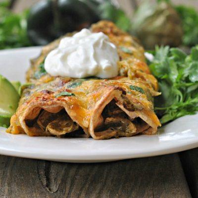Roasted Chile Verde Chicken Enchiladas