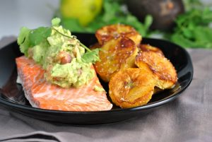 Salmon with Avocado Topping and Pan-Fried Plantains {Whole30} + Weekly Menu