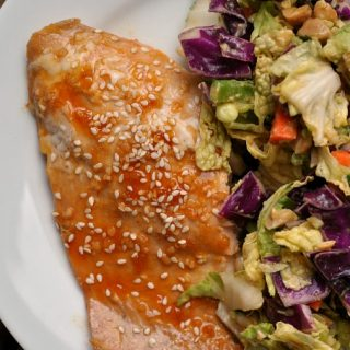 Honey Sesame Salmon in Foil with Crunchy Cabbage Salad with Spicy Peanut Dressing + Weekly Menu