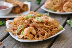 Kung Pao Noodles with Shrimp + Weekly Menu