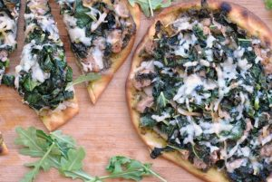 Pesto, Sausage, and Kale Flatbread