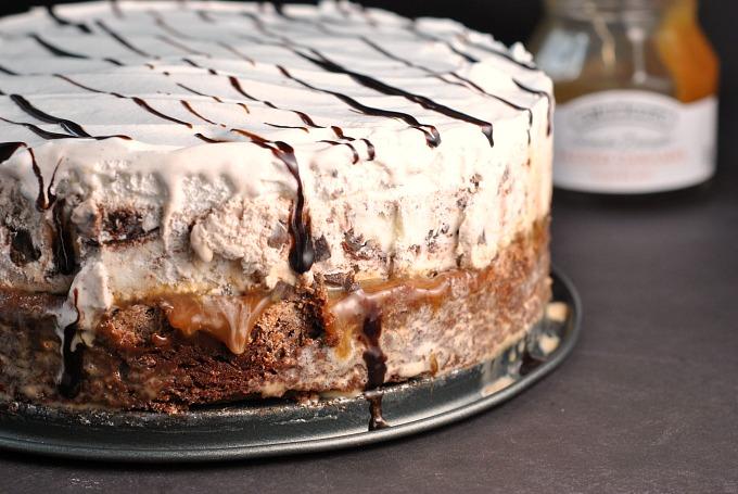 Awe Inspiring Salted Caramel Brownie Ice Cream Cake Personalised Birthday Cards Veneteletsinfo