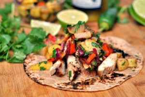 Teriyaki Chicken Tacos with Grilled Pineapple Pear Salsa + Weekly Menu