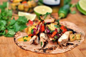 Teriyaki Chicken Tacos with Grilled Pineapple Pear Salsa + Weekly Menu