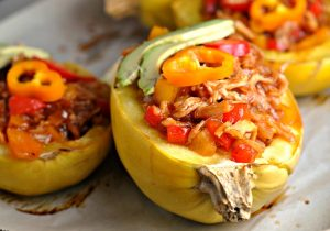 BBQ Chicken Spaghetti Squash + Weekly Menu