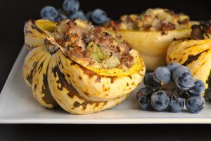 Sausage and Apple-Stuffed Acorn Squash + Weekly Menu