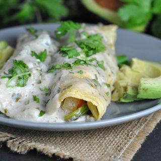 Roasted Shrimp Enchiladas with Jalapeno Cream Sauce + Weekly Menu