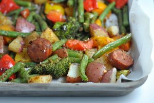 Easy Sheet Pan Cajun Sausage and Veggies {Whole30} + Weekly Menu