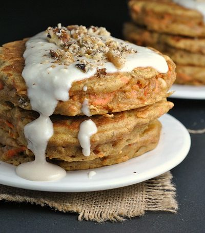 Carrot Cake Pancakes with Cream Cheese Glaze + Weekly Menu