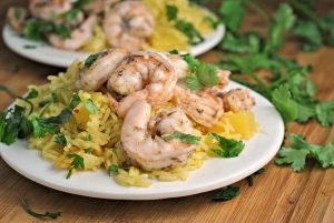 Jerk Shrimp with Pineapple Rice + Weekly Menu