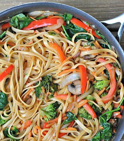 15 Minute Vegetable Lo Mein + Weekly Menu