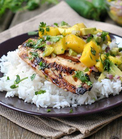 Cilantro-Lime Grilled Chicken with Mango-Avocado Salsa + Weekly Menu