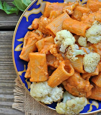 Red Pepper Cashew Pasta with Roasted Cauliflower + Weekly Menu