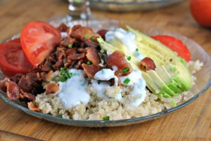 Bacon and Avocado Quinoa Bowl with Buttermilk-Chive Drizzle + Weekly Menu