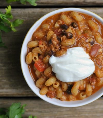 9th Annual Chili Contest: Entry #1 – One Pot Cheesy Chili Pasta + Weekly Menu