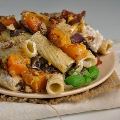 Roasted Butternut Squash Creamy Goat Cheese Pasta + Weekly Menu