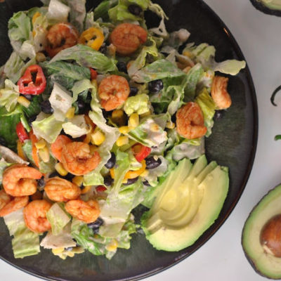Black Bean Taco Salad with Shrimp + Weekly Menu