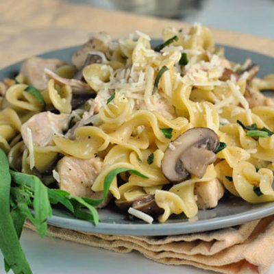 Chicken and Mushrooms in Garlic White Wine Sauce + Weekly Menu