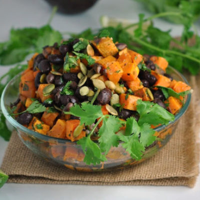 Black Bean Salad with Roasted Sweet Potatoes + Weekly Menu