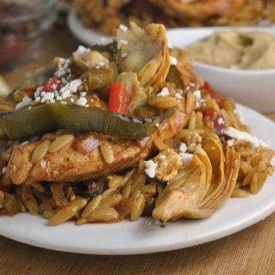 Greek Baked Chicken Orzo + Weekly Menu