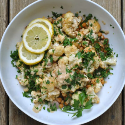 Roasted Cauliflower Salad with Creamy Lemon Dressing