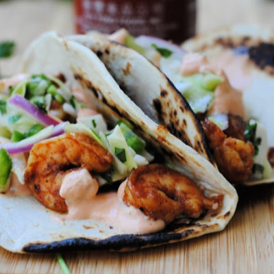 Spicy Shrimp Tacos with Cilantro-Lime Slaw and Creamy Sriracha Sauce