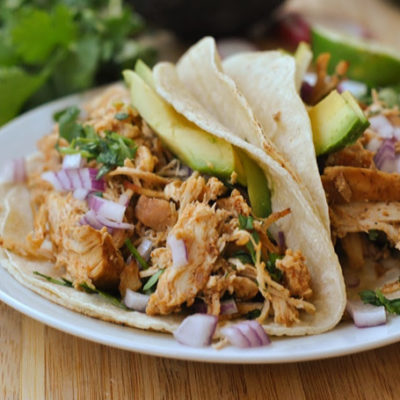 Slow Cooker Crispy Chicken Carnitas + Weekly Menu