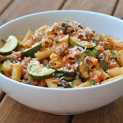 Rigatoni with Sausage, Tomatoes, and Zucchini + Weekly Menu