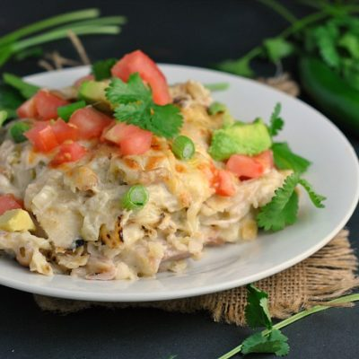 Creamy Green Chicken Enchilada Casserole