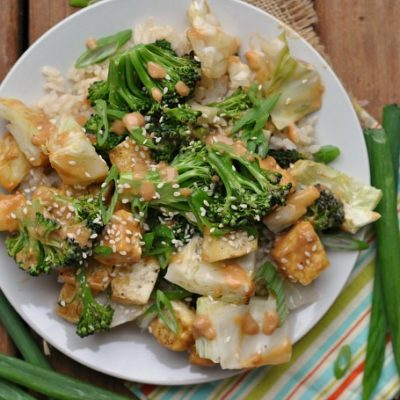 "Tofu ""Stir Fry"" with Peanut Sauce + Weekly Menu"