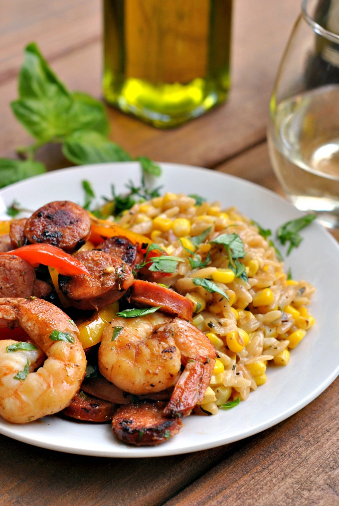Cajun Pepper Shrimp with Creamed Corn Orzo via @preventionrd