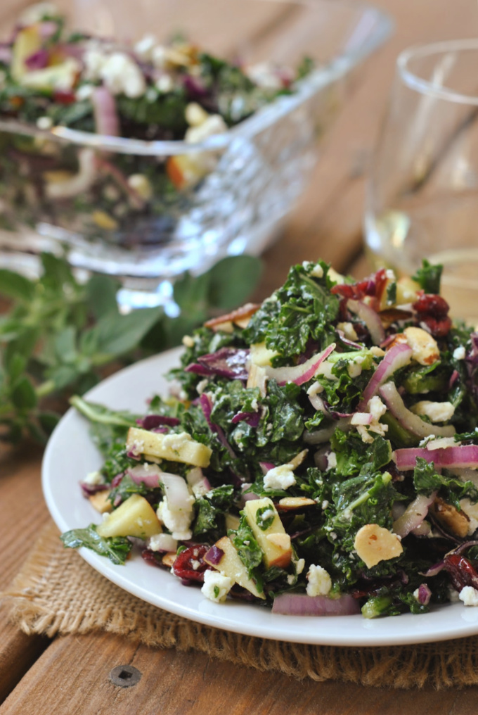 Kale Salad with Honey Dijon Vinaigrette via @preventionrd