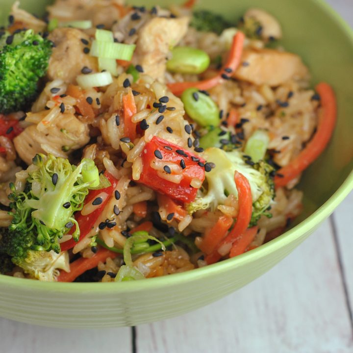 One Pot Teriyaki Rice with Chicken and Vegetables