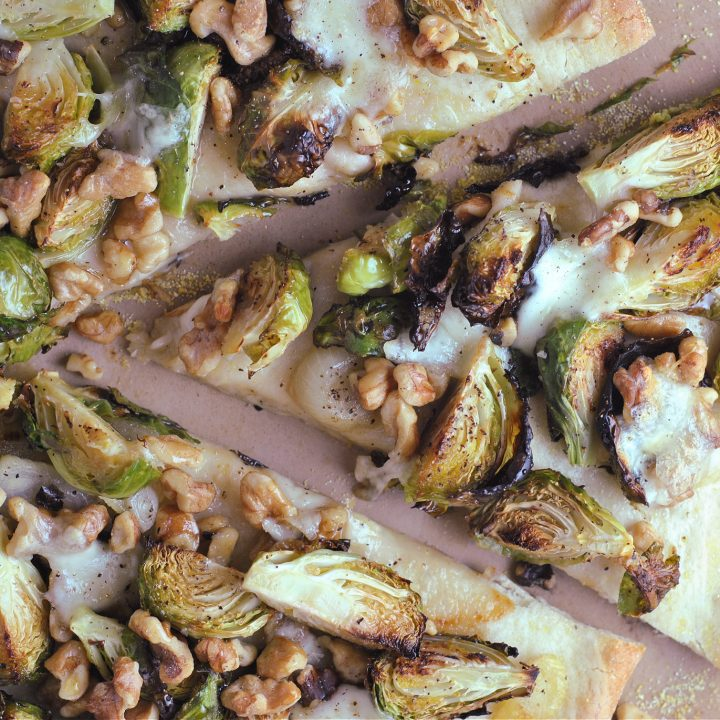 Brussels Sprout and Walnut Pizza