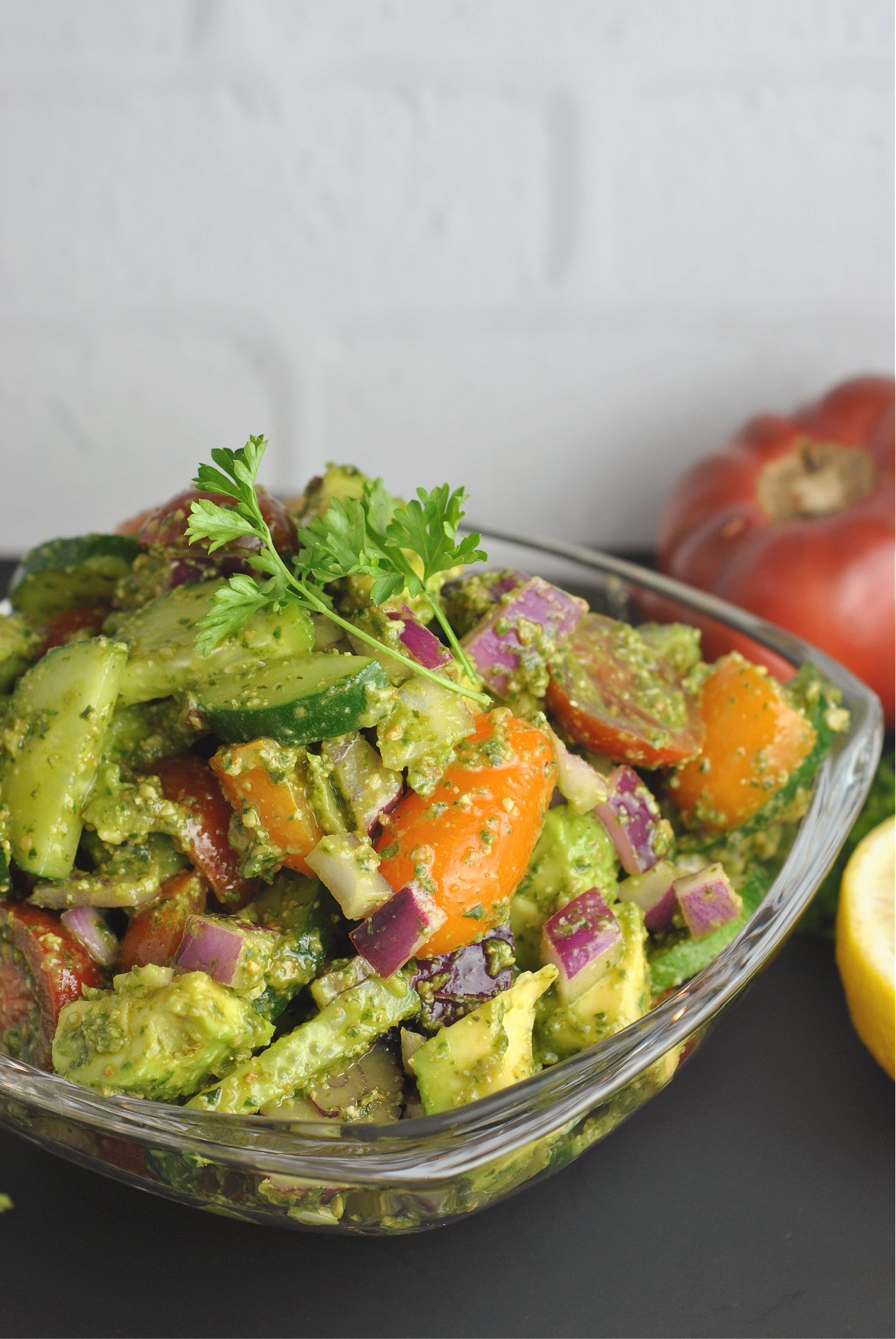 Tomato Cucumber Avocado Salad with Basil Pesto via @preventionrd
