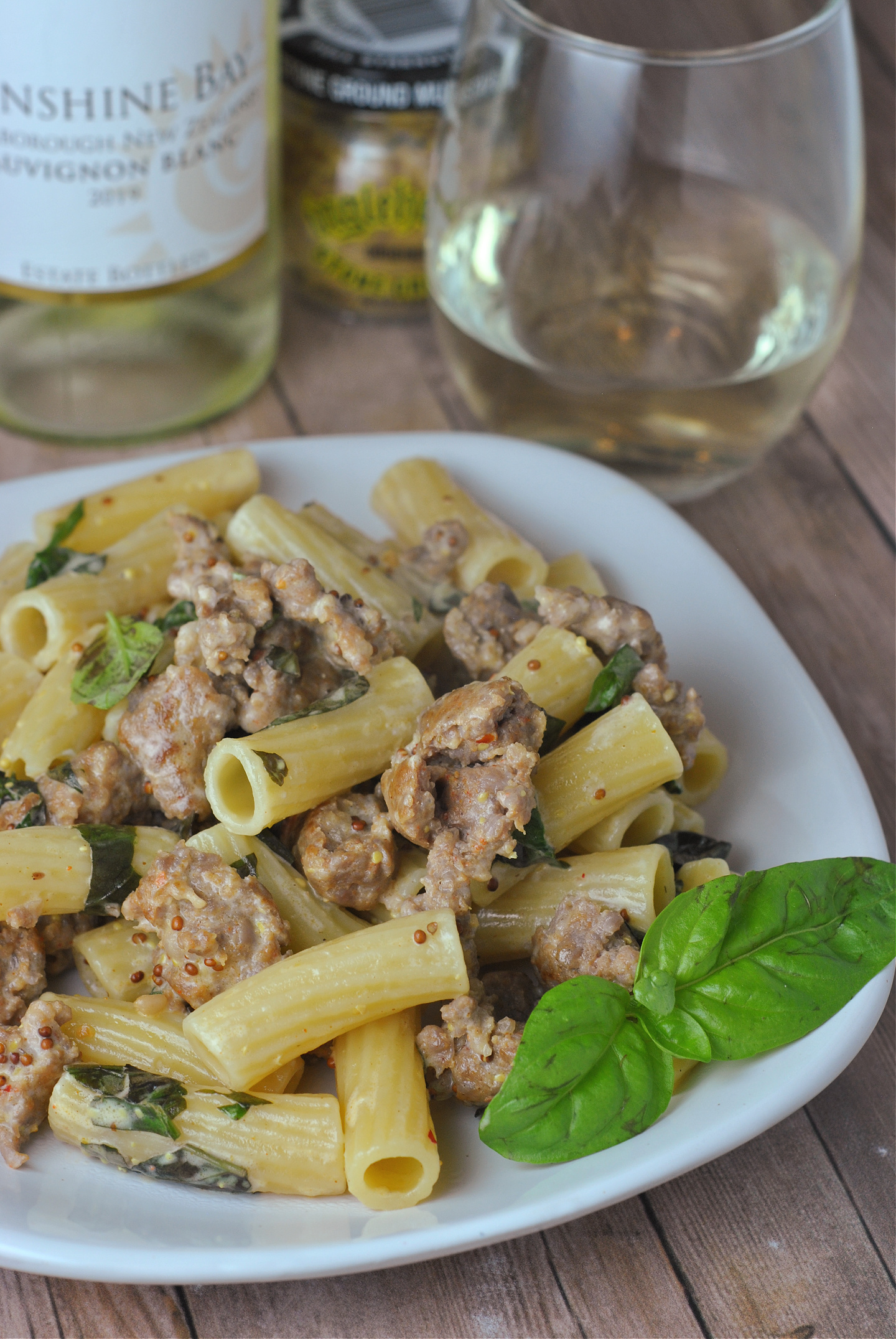Pasta with Sausage, Basil, and Mustard via @preventionrd