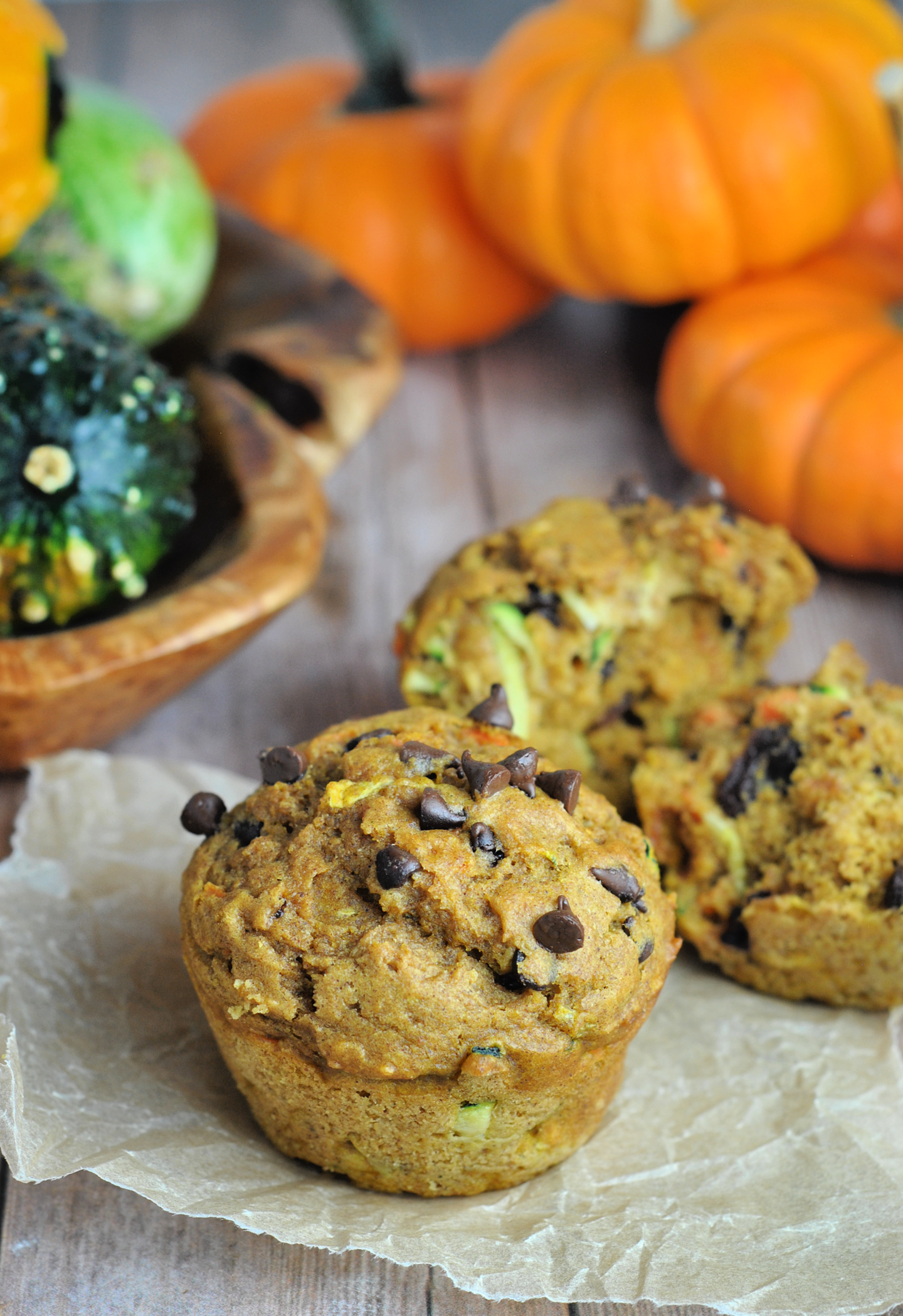 Zucchini and Pumpkin Muffins with Cranberries and Chocolate Chips via @preventionrd