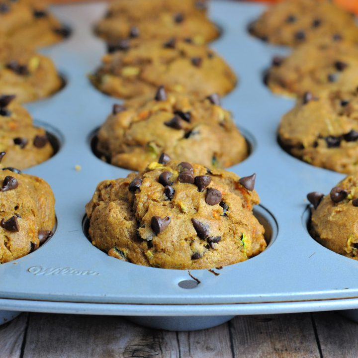 Zucchini and Pumpkin Muffins with Cranberries and Chocolate Chips