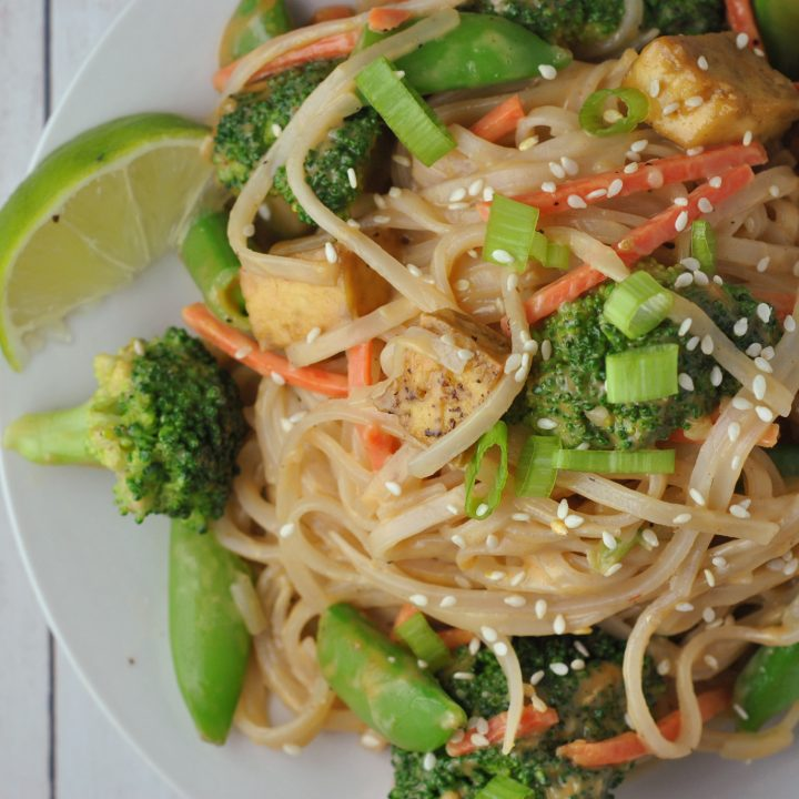 Peanut Sauce Rice Noodles with Tofu and Veggies