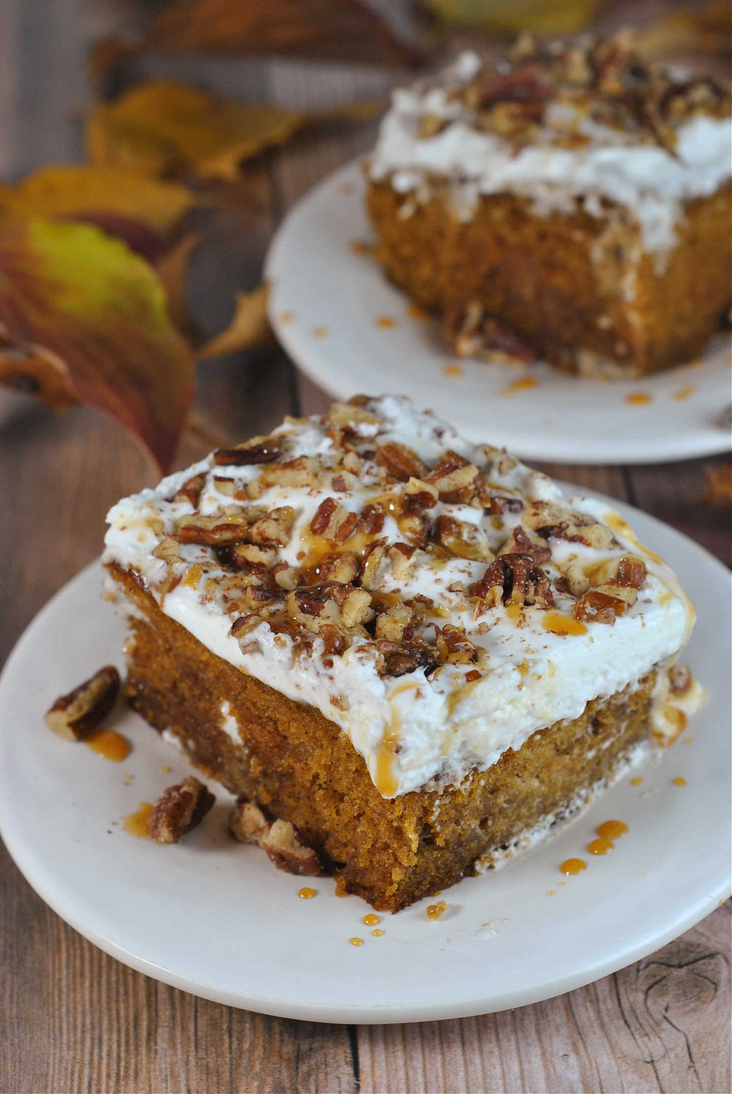 Pumpkin Caramel Bourbon Poke Cake via @preventionrd