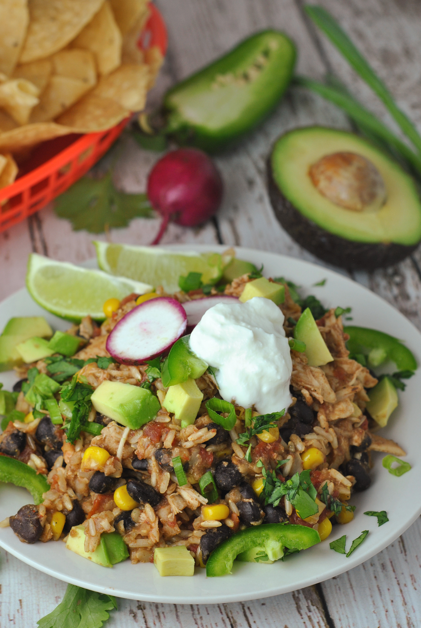 Slow Cooker Chicken Burrito Bowls via @preventionrd