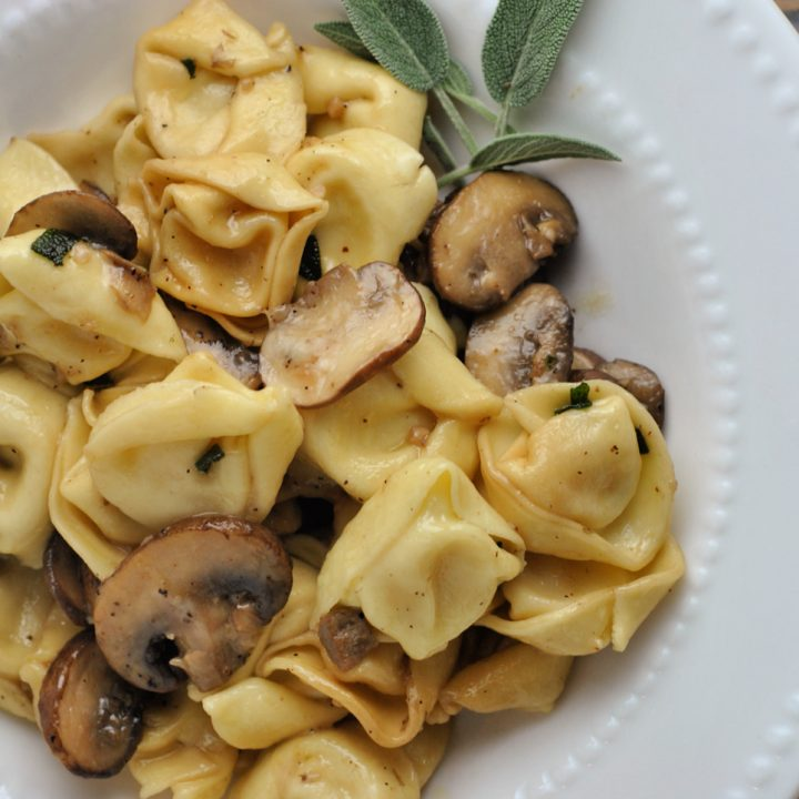 Cheese Tortellini with Butter, Mushrooms, and Crispy Sage