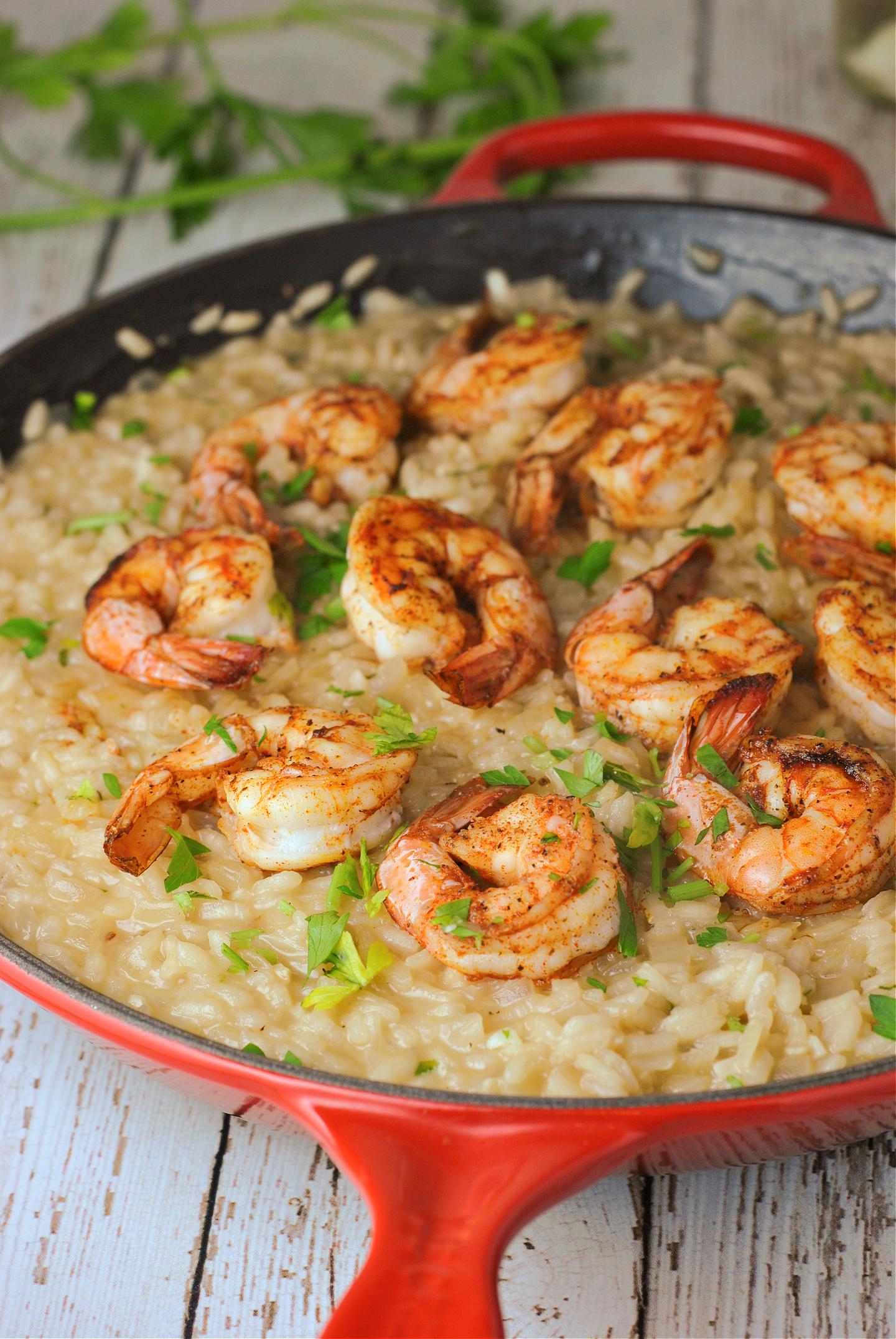 Parmesan Risotto with Roasted Shrimp via @preventionrd