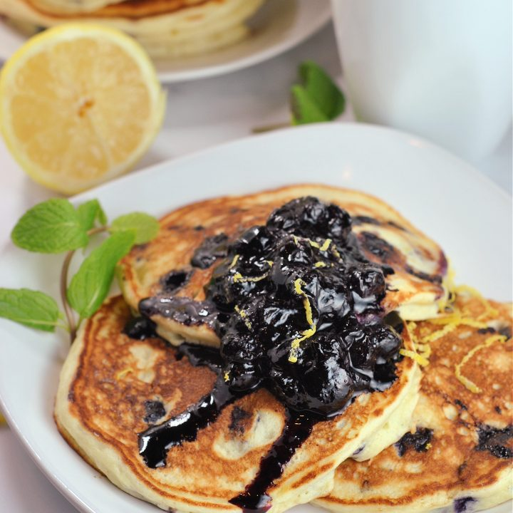 Lemon Ricotta Blueberry Pancakes with Blueberry Compote