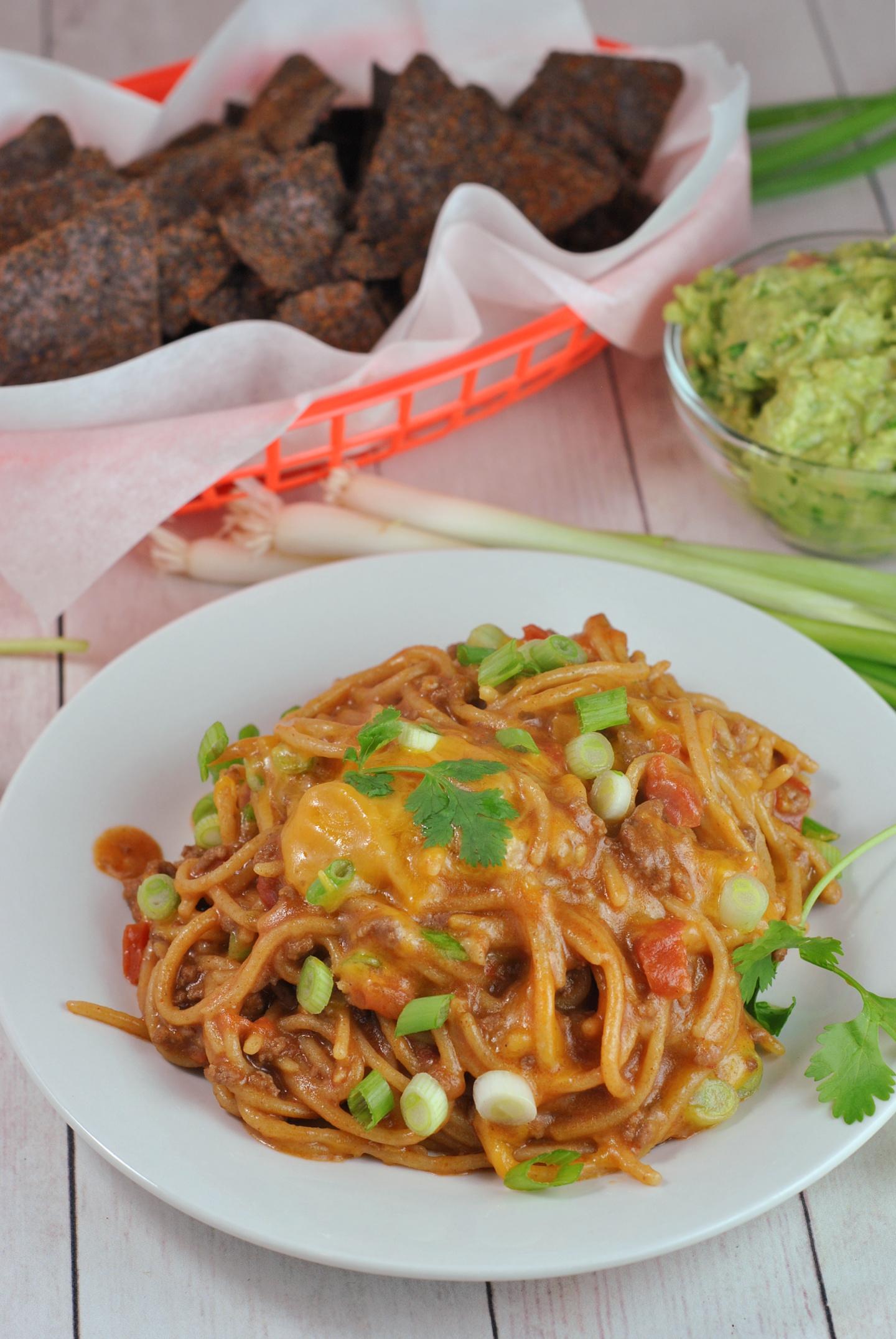 One Pot Taco Spaghetti via @preventionrd