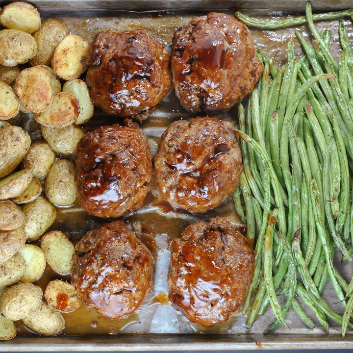 Sheet Pan BBQ Meatloaf Dinner
