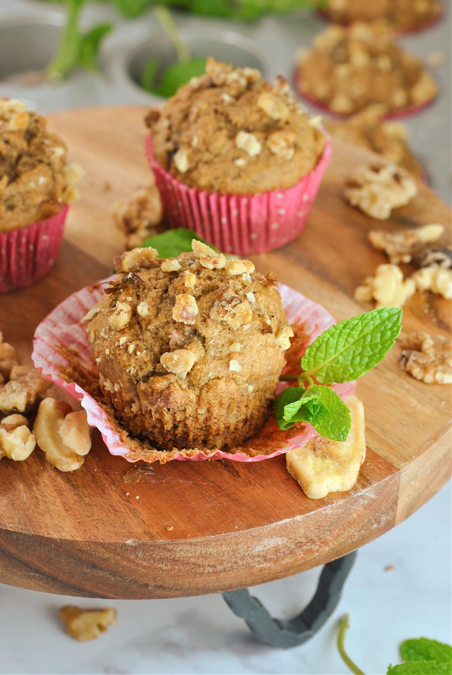 Honey Cinnamon Walnut Banana Muffins via @preventionrd