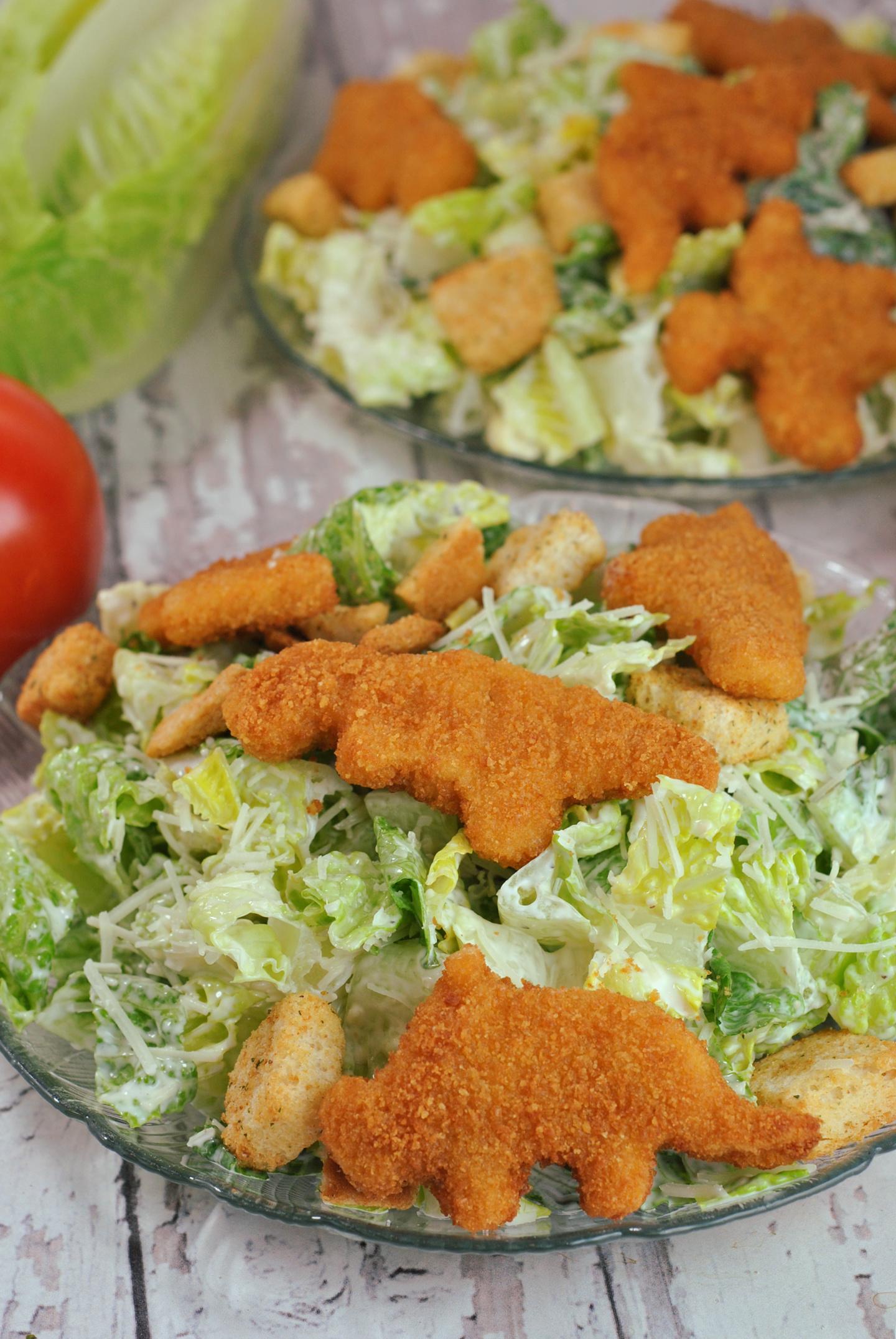 Dino Chicken Nugget Caesar Salad via @preventionrd